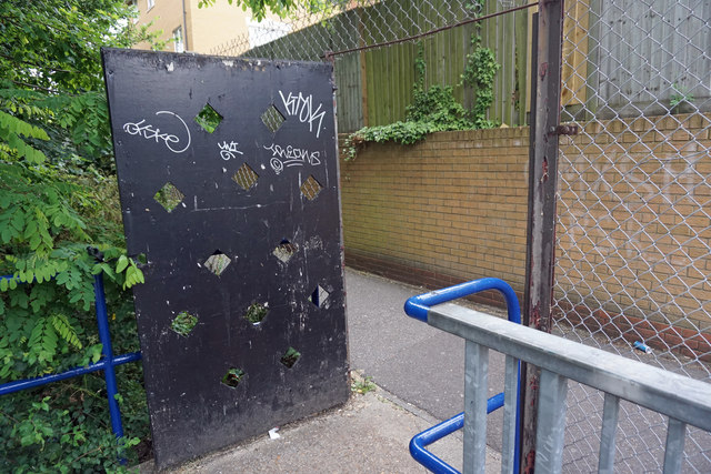 The entrance gate to Sainsbury's on footpath 97