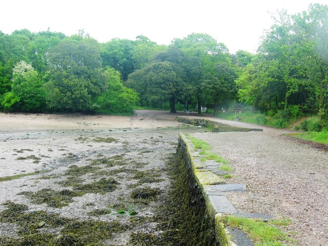 Quay and beach at Saltram Point on the River Plym, Devon