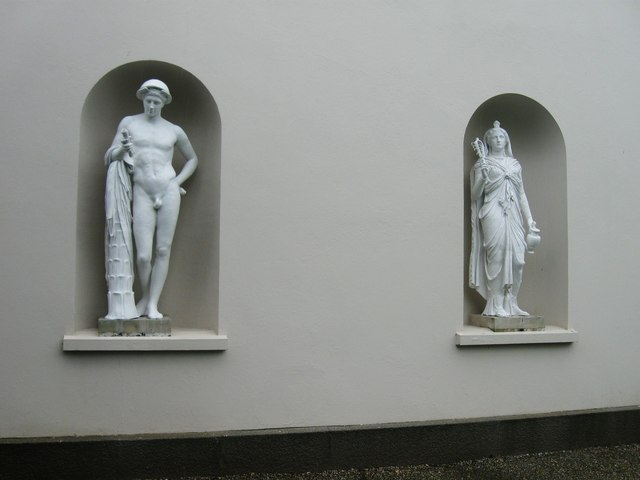 Renovated statues on the West side of Saltram House