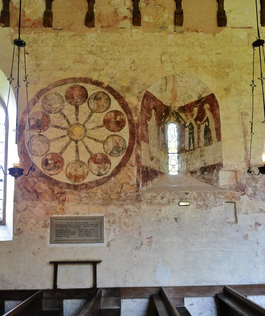 """Kempley, St. Mary's Church: North nave wall, c15th """"Wheel of Life"""" painting"""