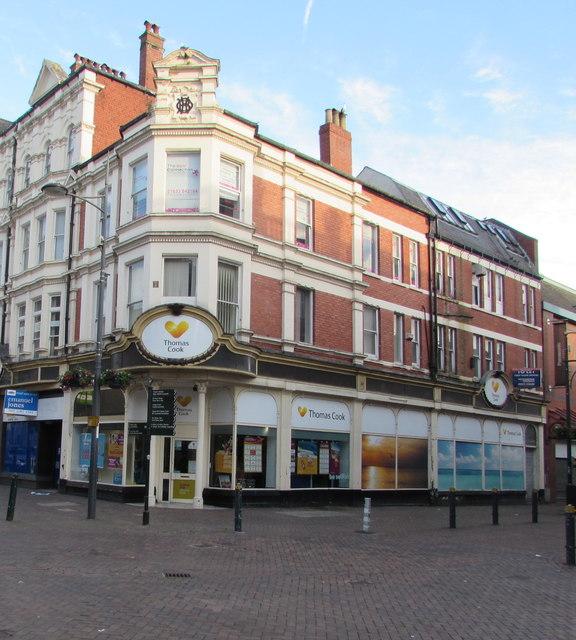 Thomas Cook travel agents on a city centre corner, Newport