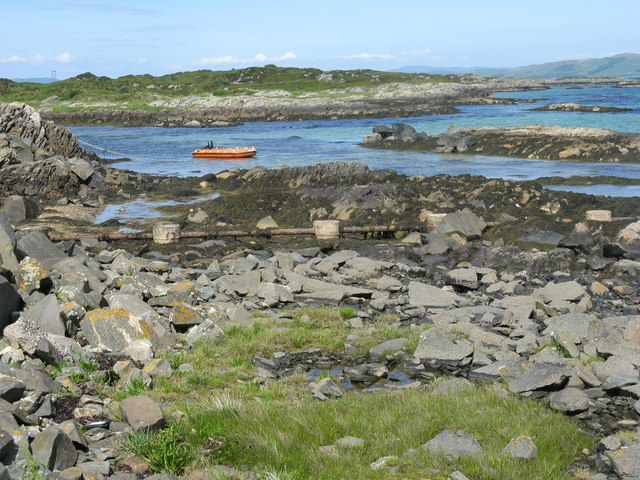 Moored inflatable at Gigha ferry terminal
