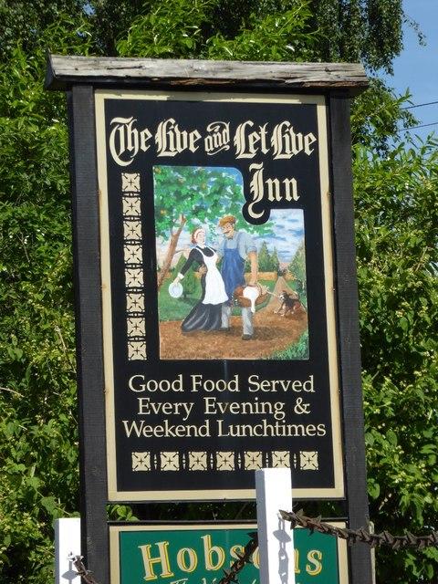 Inn sign of Live and Let Live Inn inn sign