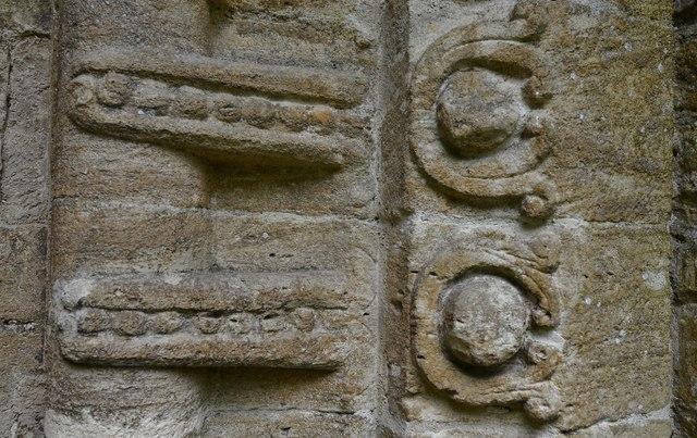 Quenington, St. Swithuns Church: The Norman south doorway (detail)
