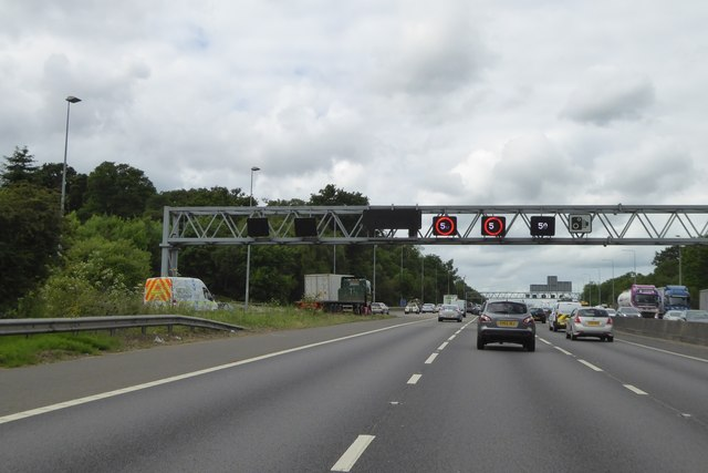 Gantry over M25 and slip road at junction 16 of M25