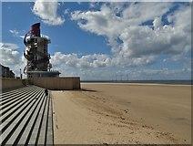 NZ6025 : Redcar Beacon, the beach and Teesside Wind Farm by Neil Theasby