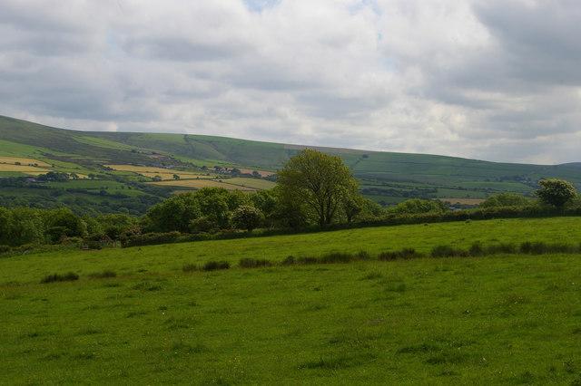 Fields above Pen Rhiw
