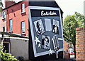 "J3574 : ""Entertain"" mural, Templemore Avenue, Belfast (June 2017) by Albert Bridge"