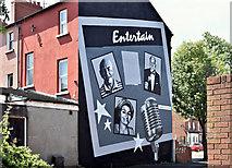 "J3574 : ""Entertain"" mural, Templemore Avenue, Belfast (June 2017) by Albert Bridge"