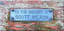 NO2406 : Memorial plaque on seat, Fauld Road, Lomond Hills by Bill Kasman