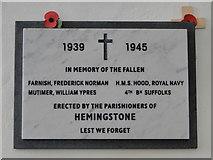 TM1453 : Hemingstone War Memorial (WW2) by Adrian S Pye