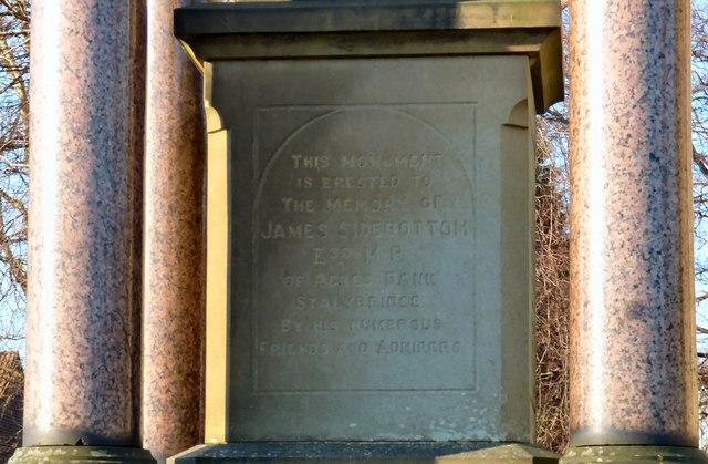 Sidebottom Family Vault: Memorial inscription