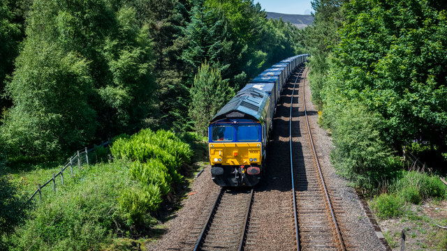 South bound freight hauled by 66305 passing Moy