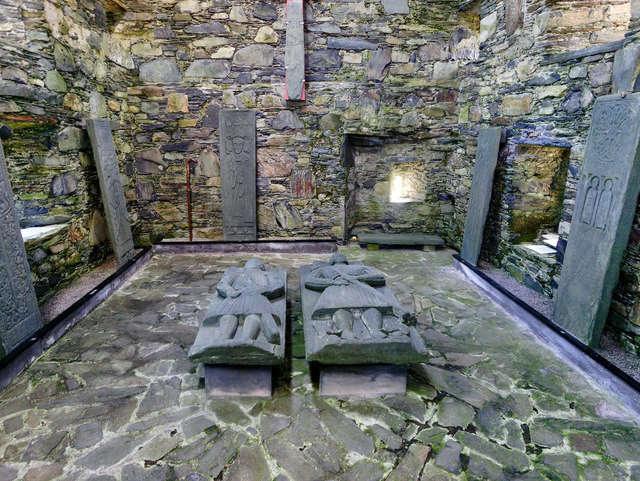 Tombstones at Oronsay Priory