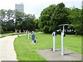 NZ2564 : Exercise equipment in City Stadium Park by Oliver Dixon