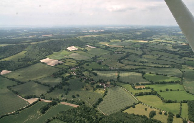 Bepton, Bepton Down and South Downs: aerial 2017
