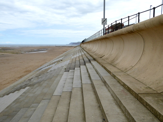 The wave wall on Redcar seafront