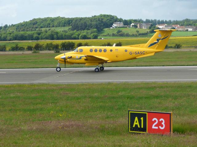 Air ambulance aircraft at Glasgow airport