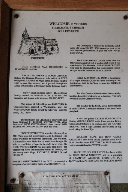 Information poster at Sollers Hope church