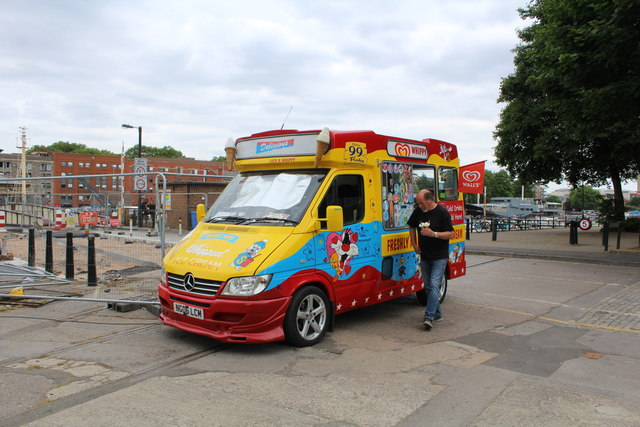 Wall's ice cream van, Floating Harbour area, Bristol
