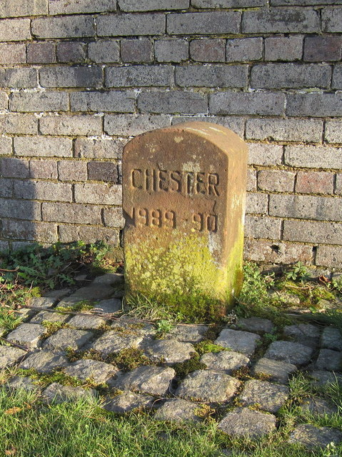 A Chester Boundary Stone in front of Bridge farm, Kinnerton