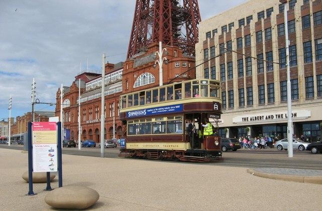 Heritage Tram on Blackpool Promenade