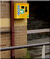 ST3090 : Yellow defibrillator box on the wall of Malpas Community Centre, Newport by Jaggery