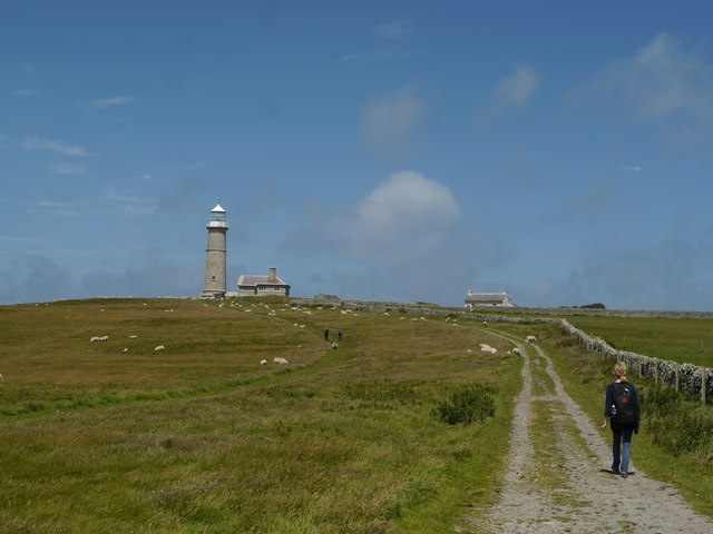 Walking towards Lundy Old Lighthouse
