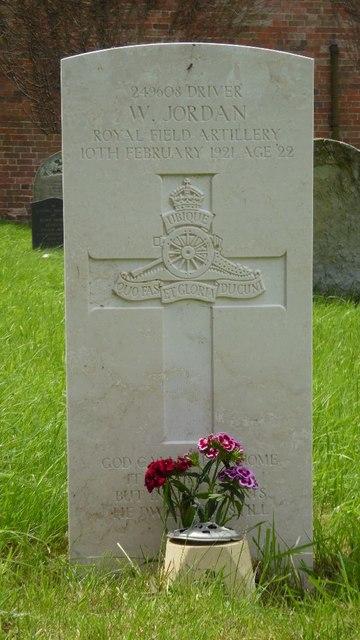 War grave of W. Jordan
