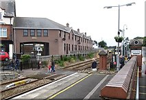 J4791 : Pedestrian level crossing at the northern end of Whitehead Station by Eric Jones