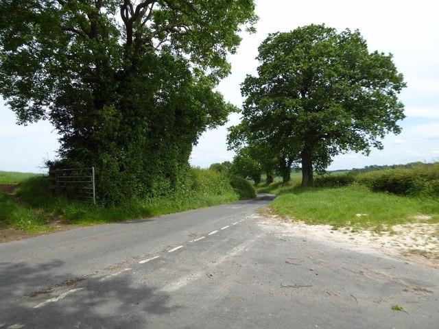 Road junction near Silvington