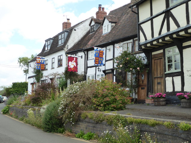 Colourful flags against black and white - Tewkesbury