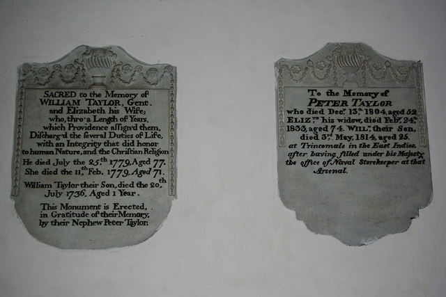 Memorials to the Taylor family