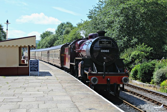 A Dining with Distinction train arrives at Rawtenstall
