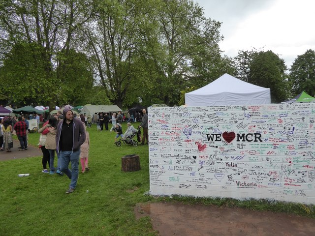 Exeter Respect Festival 2017; wall for support of Manchester