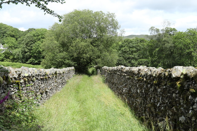 Stone wall on either side