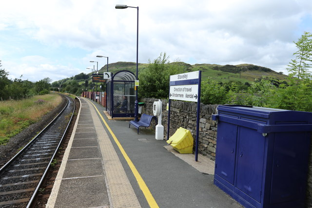 Railway platform at Staveley
