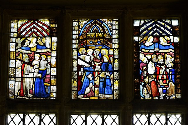 Buckland, St. Michael's Church: Medieval stained glass window 1