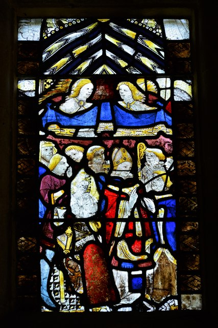 Buckland, St. Michael's Church: Medieval stained glass window 4