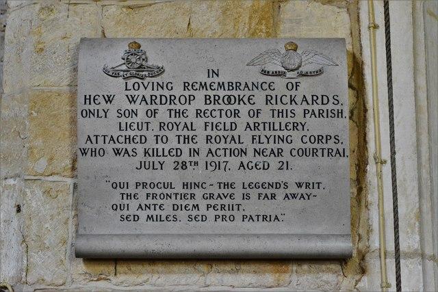 Buckland, St. Michael's Church: Hew Wardrop Brooke Richards memorial