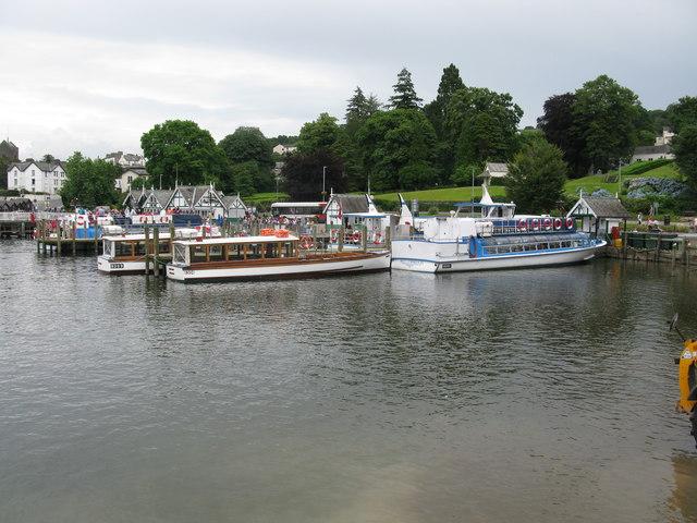 Boats moored at Bowness Bay