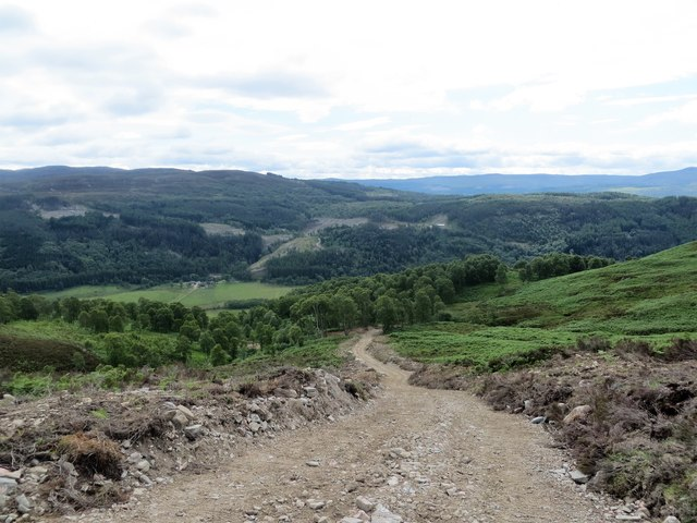 Newly constructed track to a mini hydro dam adjacent to Glas Burn