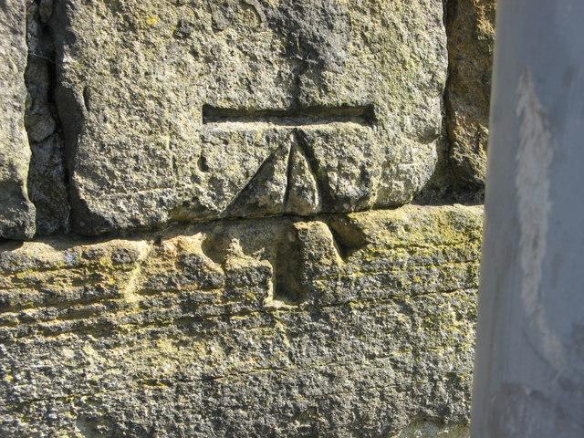 OS Cut Benchmark, Undercliffe Cemetery Entrance