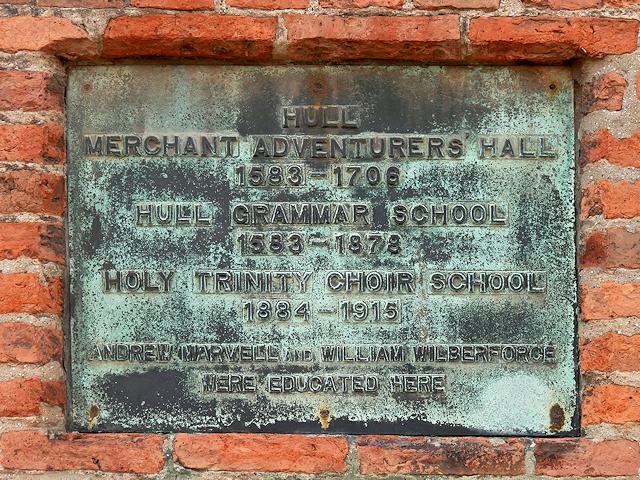 Merchant Adventurers' Hall/Hull Grammar School Plaque