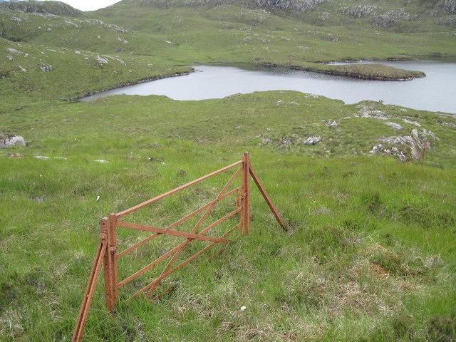 Old gate on hillside near Loch Airigh a' Phuill