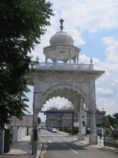Entrance arch to Sikh temple