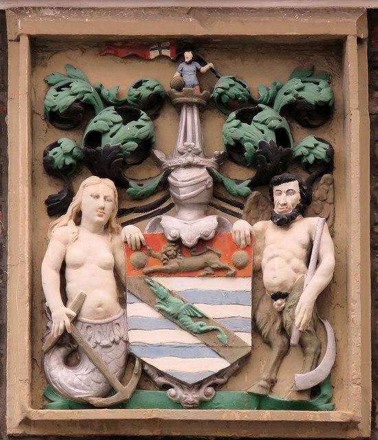 Bristol: plaque on the Merchant Venturers' Almshouses