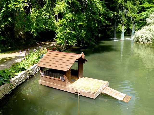 Duck house in the Mill Race at Quenington Old Rectory