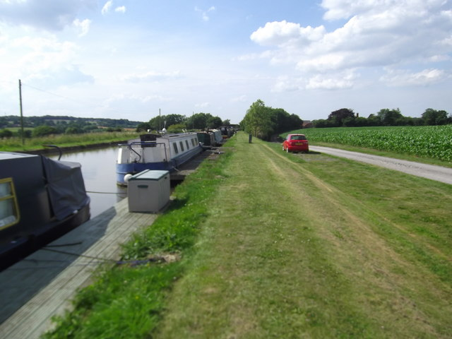Narrowboats moored at Little Soudley