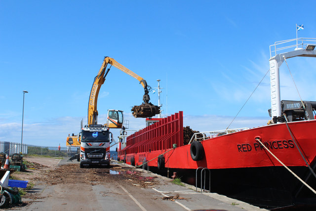 Red Princess offloading at Girvan Harbour